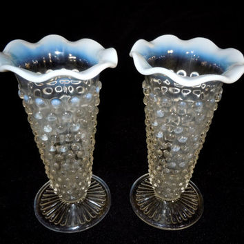 Vintage Opalescent Moonstone Vases Anchor Hocking Hobnail Crimped Ruffle Edge Depression Glass Table Centerpiece Winter Solstice Wedding