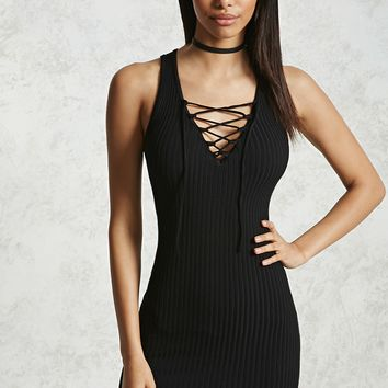 Crisscross V-Neck Bodycon Dress