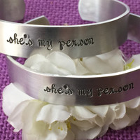 Best Friends Cuff Bracelet Set - You're my person - She's my person - Greys inspired - Best Friend Jewelry - Personalized Cuff bracelet set