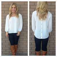 White Gold Button Back 3/4 Sleeve Blouse