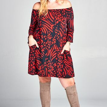 Plus Size Black and Red Print Dress On or Off Shoulder