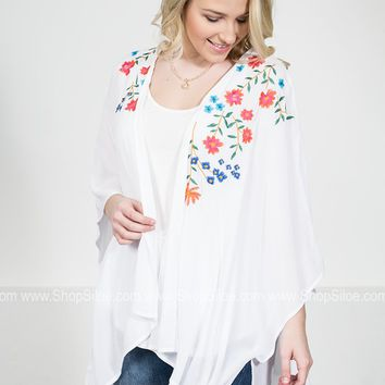 Southern Embroidered Floral Kimono