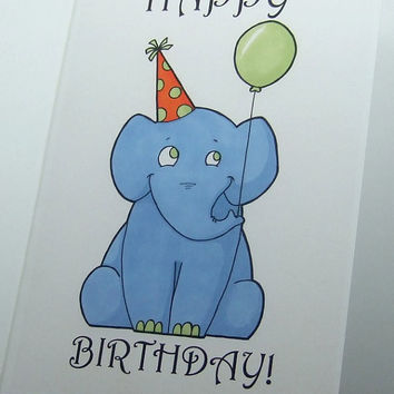 cute elephant birthday card print happy birthday original illustration