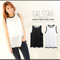 Simple basic mesh is transparent; tank top no sleeve tops tunic sporty Lady's [have been received]