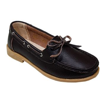 Women's Cognac Leather Moccasins with Bow - CASE OF 12