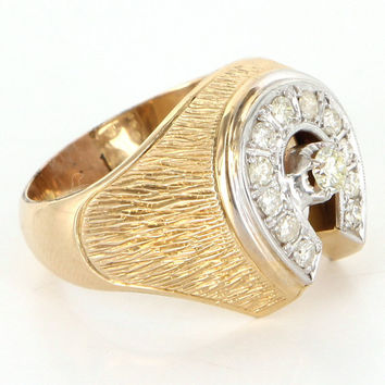 Vintage 14 Karat Yellow Gold Diamond Mens Horseshoe Good Luck Cocktail Ring