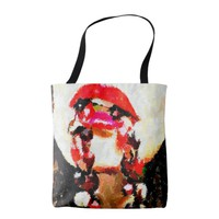 Woman Biting Necklace Abstract Art Tote Bag