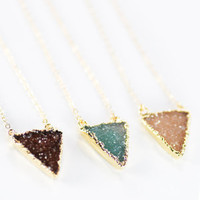 Nalukea necklace - gold druzy triangle pendant necklace, gold filled geometric necklace, gold druzy triangle necklace, modern, maui, hawaii