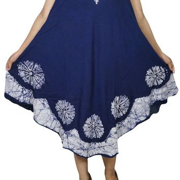 Boho Beach Blue White Flared Tank Dress Sleeveless Summer Style Loose Bikini Cover Up Resort Wear Sundress L