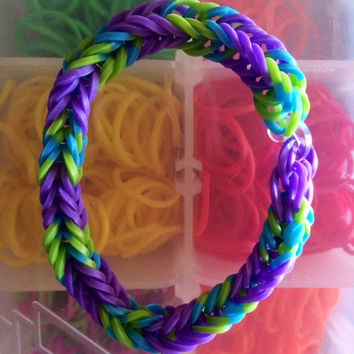 Purple, Green, and Blue Fishtail Rubber Band Bracelet