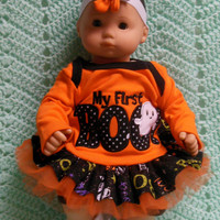 "AMERICAN GIRL Bitty Baby Clothes ""My First Boo"" (15 inch) Halloween doll outfit  dress, shorts, socks, and headband/ hair clip"