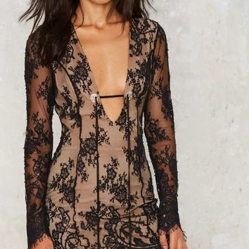 Nasty Gal Lace Wrangler Plunging Dress