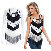 Summer Tassel Black and White Spagehetti Strap Top a12248