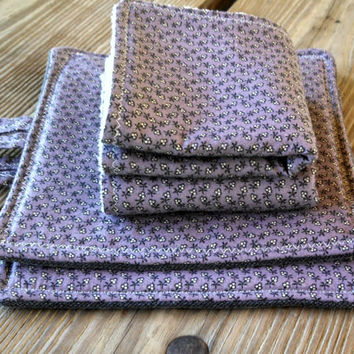 Kitchen Set / Purple Floral Dish Rags / Set of 2 Homemade Pot Holders with Coordinating 2 Dish Rags / Wedding Gift / Housewarming Gift