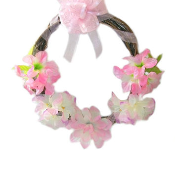 Flower Wreath Wall Decor Spring Summer Silk Floral Wreath Front Door Wreath Outdoor Wreath Elegant Pink White