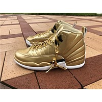 "Air Jordan 12 ""Gold"" Pinnacle Local tyrants gold Basketball Shoes 40-47"