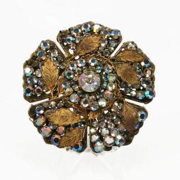 Miriam Haskell Rhinestone Brooch, Vintage Jewelry, AB Rhinestone, 1950s Jewelry, Crystal Brooch, Flower Pin, Rhinestone Pin, Estate Jewelry