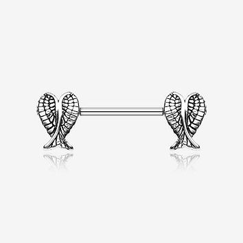 A Pair of Fallen Angel Wing Nipple Barbell Ring