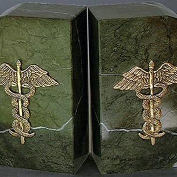 Medical Profession Marble Caduceus Bookends 6H