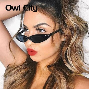 Owl City 2018 Vintage Sunglasses Women Small Cat Eye Sun Glasses Narrow Women's Shades Retro Trending Adults Eyewear Female
