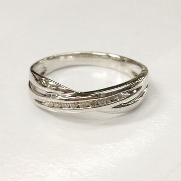 Diamond Wedding Ring,14K White Gold,.15ctw Channel Set,Full cut,Curved Twisted Eternity Matching Band,Anniversary Fine Ring,Stackable,Unique