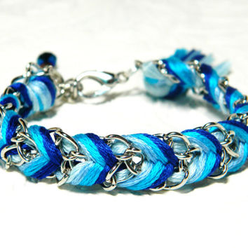 Cobalt Ombre - Chevron Braided Modern Friendship Bracelet