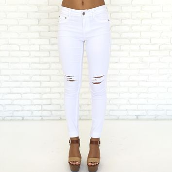 Riptide Distressed High Waist Skinny Pants in White