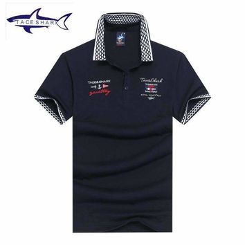 Tace & Shark brand polo shirt men high quality cotton solid color men's casual polo shirt slim fit business chemise polo shark