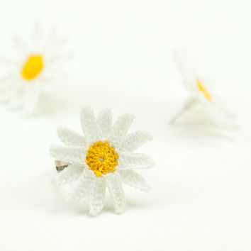 Daisy Post Earrings - Crochet Lace Earrings - White Yellow - Fiber Art Jewelry - Lightweight