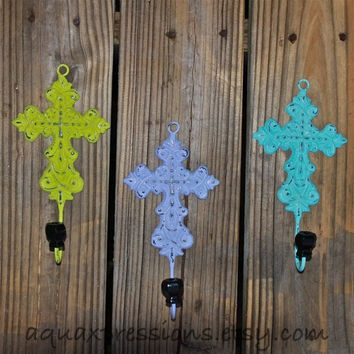 Cross Wall Hook Hanger Lime GreenLilac Aqua by AquaXpressions