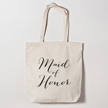 Maid of Honor Calligraphy Tote Bag