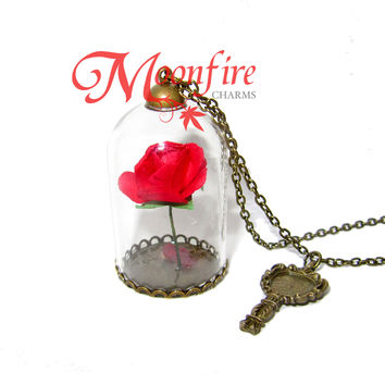 BEAUTY AND THE BEAST Enchanted Rose Glass Dome Pendant Necklace