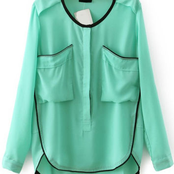 Green Long Sleeve Chiffon Blouse with Pocket