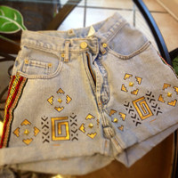 GIRLS Hand Painted Aztec Studded High Waisted Shorts