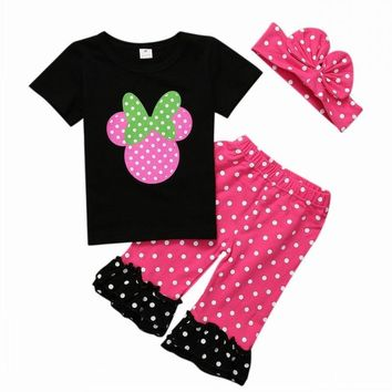 Girls Polka Dotted Minnie Mouse Outfit with Bow