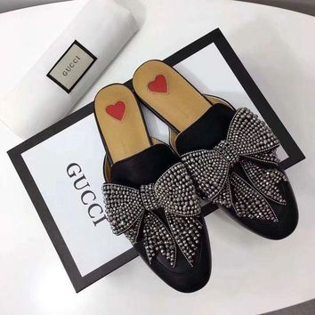 GUCCI Trending Women Causal Leather Bow Flat Sandals Slippers Shoe I