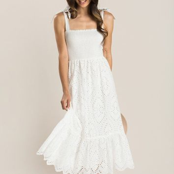 Talia White Smocked Eyelet Maxi Dress