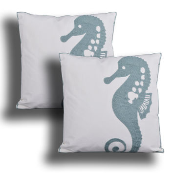 Seahorse Embroidered Decorative Pillow, 18 in., Aqua Teal or Tan