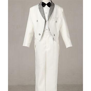 Three Pieces White Swallow-tail Ring Bearer Suit