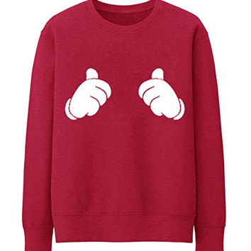 THUMBS UP ALL ABOUT ME MICKEY MOUSE HANDS Unisex Crewneck Sweatshirt Top Funny - Red