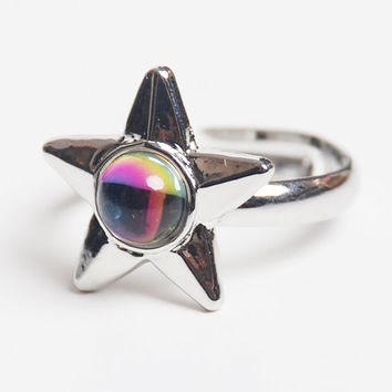 Vintage 90s Silver Star Rainbow Cab Ring