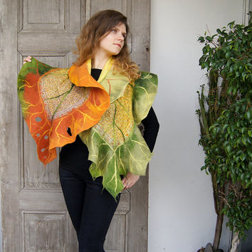 Nuno felted ruffle scarf like leaf, long silk shawl in green, orange and yellow. OOAK