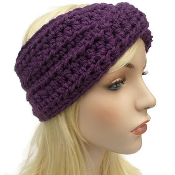 Mixed Berry Purple Crochet Turban Winter Headband