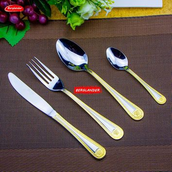 4 Pcs/set 24pcs set Medusa Head Gold Cutlery Set Stainless Steel Set Tableware Dinnerware Knife Scoop Fork cake server
