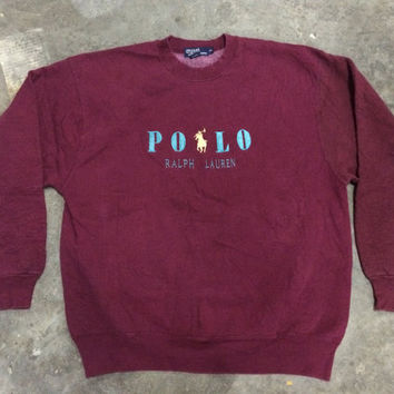 vintage 80s 90s POLO ralph lauren sweatshirt hard 100% cotton made in usa hip hop