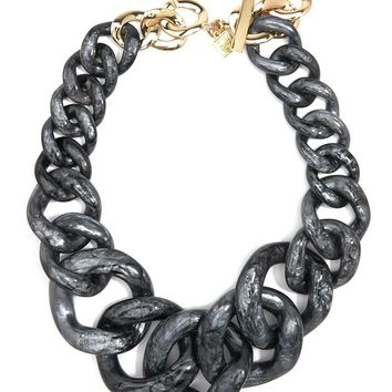 Metallic Marbled Chunky Linked Collar Necklace