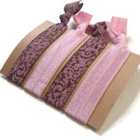 Elastic Hair Ties Pink and Brown Damask Yoga Hair Bands