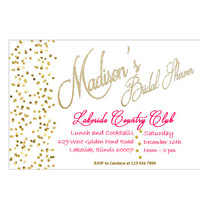 Hot Pink and Gold Bridal Shower Invitation Wedding Shower and  Bachelorette party invitations printables in Hot Pink and Gold Glitter