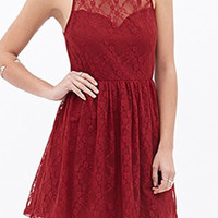 Red Sheer Lace Skater Dress