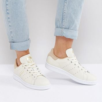 adidas Originals Off White Stan Smith Sneakers With Tan Trim at asos.com